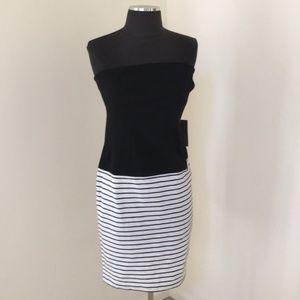 NWT! Zara medium black striped strapless dress